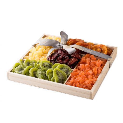 Wooden 5 Section Square Dried Fruit Tray