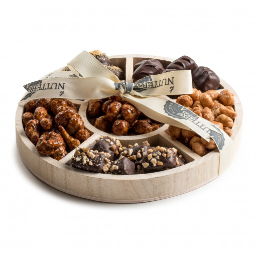 Wooden 6 Section Round Nut & Chocolate Gift Tray- Small