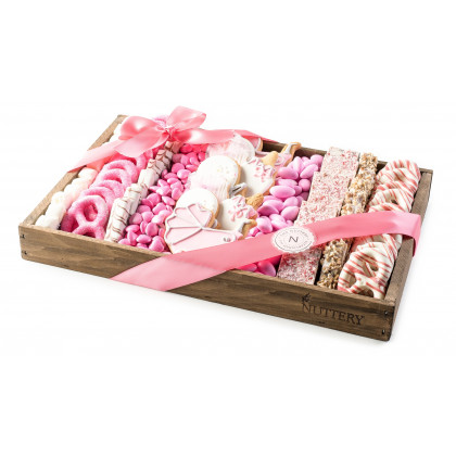Gift For Baby Girl, Pink Chocolate and Candy Tray- Medium Size