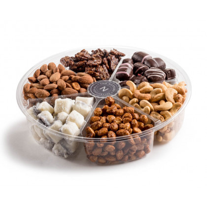 Plastic 6 section- Nuts and Chocolate Gift Tray