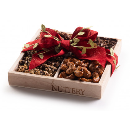 Nuttery Specialty  Chocolate & Nuts Classic 4 Section Gift Tray-Christmas Red Ribbon