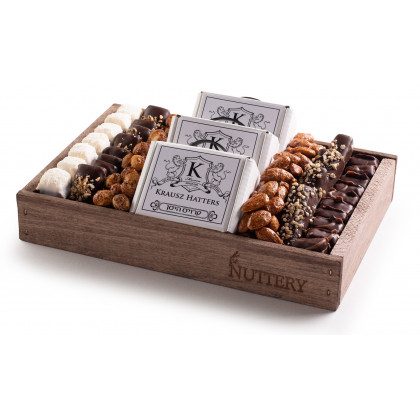 Nuttery Signature Bar Mitzvah Gift Tray with Chocolate Hat Boxes