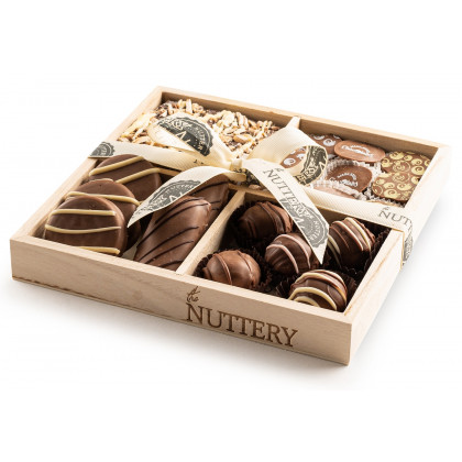 The Nuttery DairyTruffles, Bark and Oreos Wooden 4 Small Gift Tray