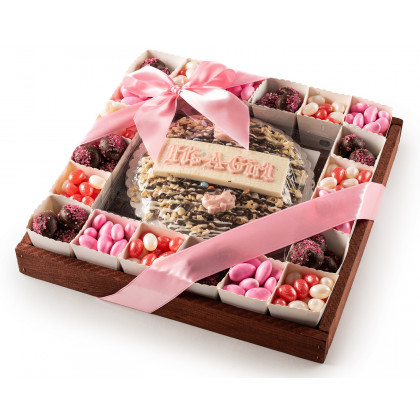 The Nuttery Baby Girl Pie and Chocolates in Individual Party Cups- Baby Gift Tray