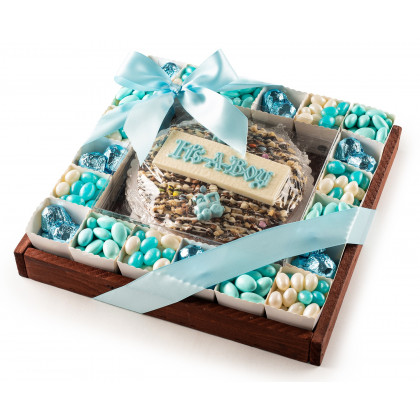 The Nuttery Baby Boy Pie and Chocolates in Individual Party Cups- Baby Gift Tray