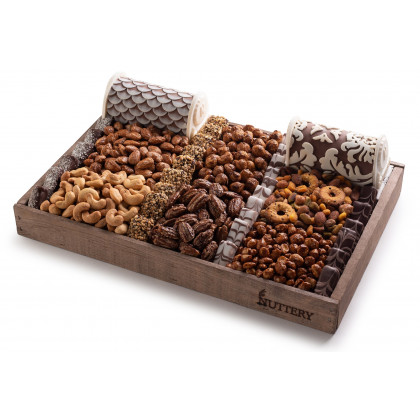 Nuttery Signature Gift Tray - Nuts and Chocolates with Fancy Praline Logs - Medium Size Tray