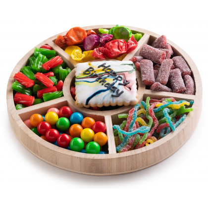 The Nuttery Candy Gift Tray- 6 Sectional Round Wooden Birthday Gift