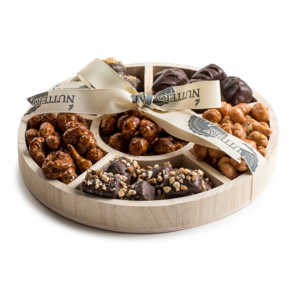 Wooden 6 Section Round Nut & Chocolate Gift Tray-Large