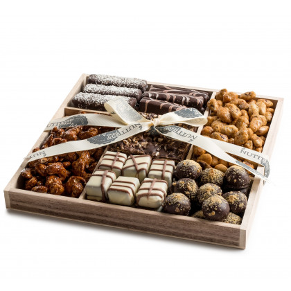 Wooden 5 Section Square- Nuts and Specialty Chocolate