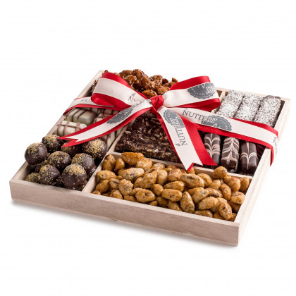 Holiday Wooden 5 Section Square- Nuts and Specialty Chocolate - Christmas Red Ribbon