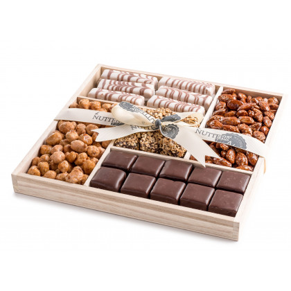 Nuttery Wooden 5 Section Square- Nuts and Chocolate 2