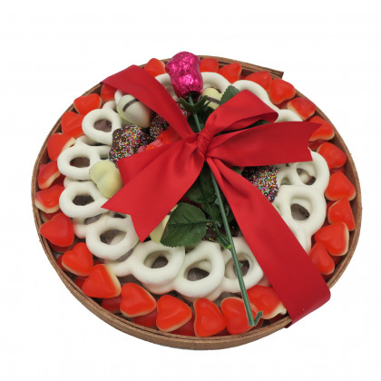 Round Wooden Gift Tray, Sweets and Chocolate Covered Pretzels
