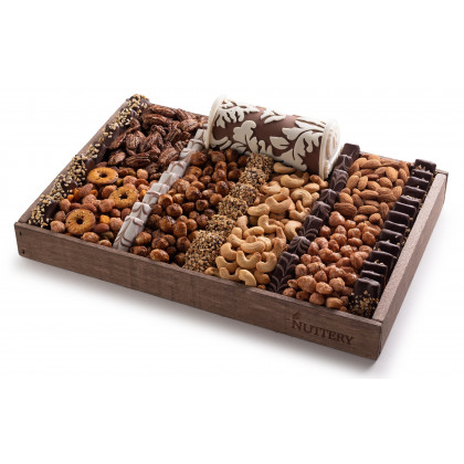 Nuttery Signature Tray - Nuts and Chocolates with Fancy Praline Log - Medium Size Tray