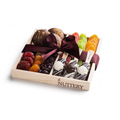 Nuttery Shana Tova Specialty Chocolate and Dried Fruit -4 Section Gift Tray